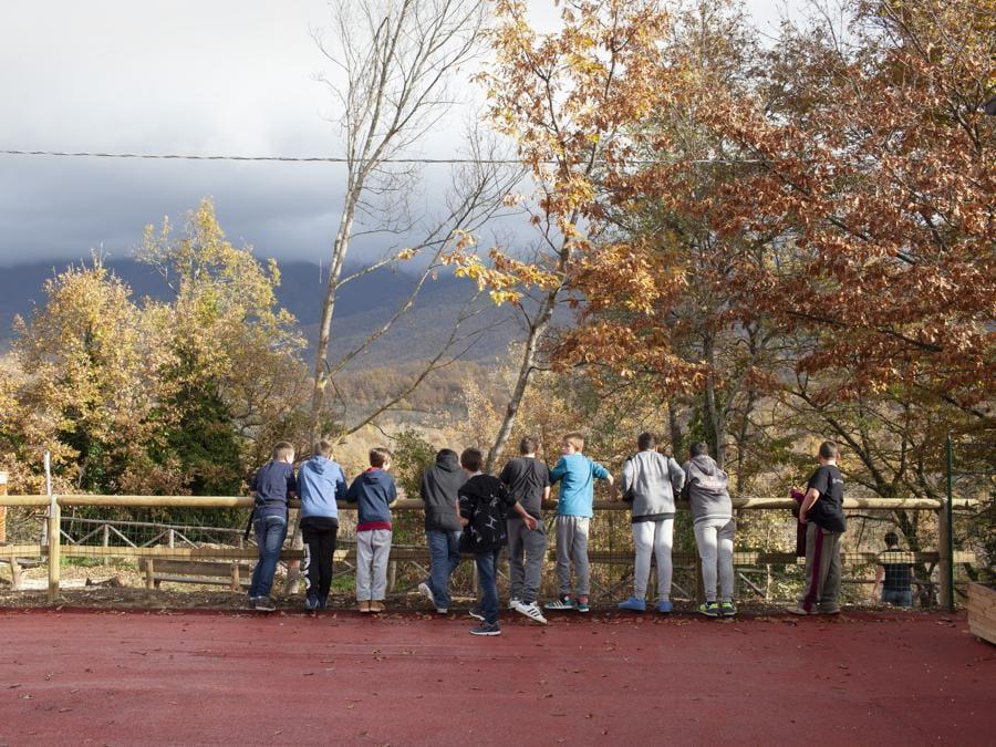 Amatrice, novembre 2016. Durante la ricreazione nella scuola di Amatrice a San Cipriano (Fonte: Terraproject)