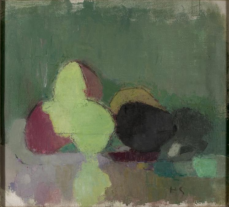 Helene Schjerfbeck, Still Life with Blackening Apples, 1944. Oil on canvas, 46 x 50 cm. Didrichsen Art Museum; photo: Jussi Pakkala