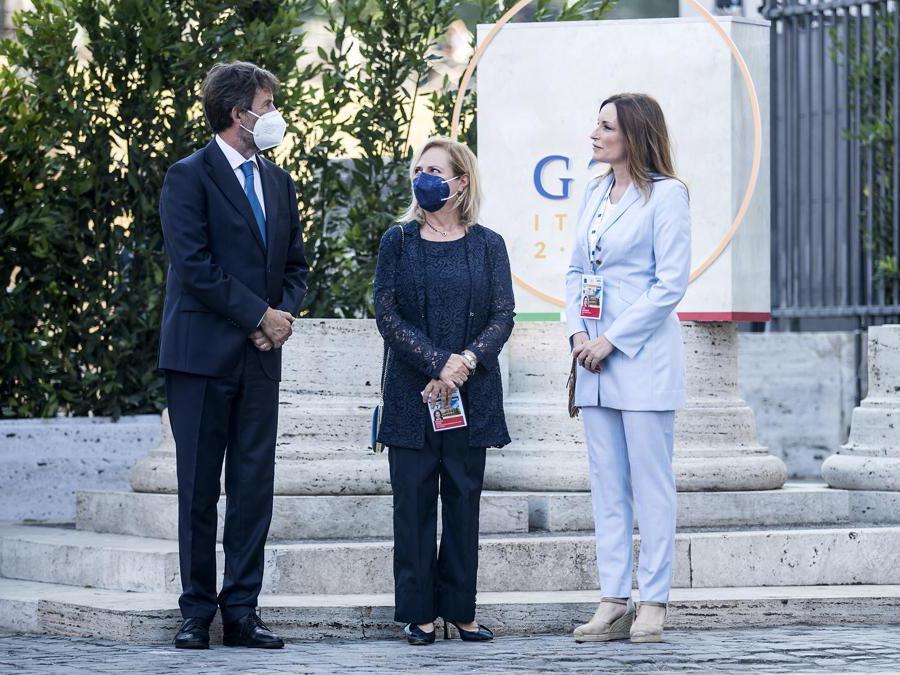 29-07-2021 Roma,  Colosseo - Cerimonia di apertura del G20 della Cultura Nella foto Dario Franceschini, Alfonsina Russo, Lucia Borgonzoni (Foto Roberto Monaldo / LaPresse )