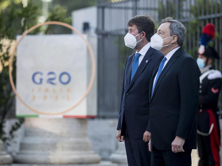 29-07-2021 Roma,  Colosseo - Cerimonia di apertura del G20 della Cultura  Nella foto, Dario Franceschini, Mario Draghi (Foto Roberto Monaldo / LaPresse )