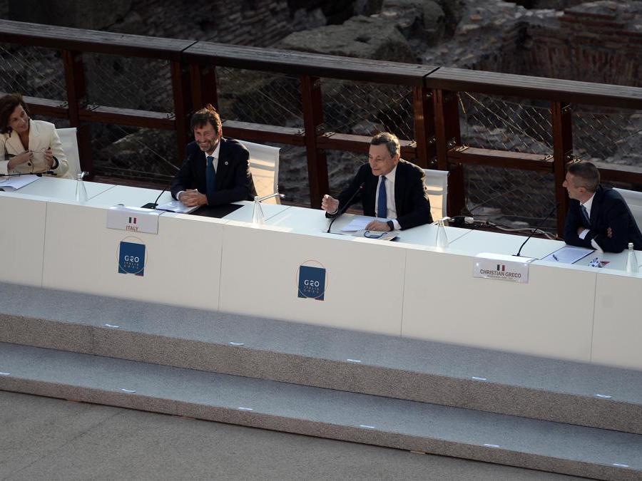 Roma 29/07/2021. G20 della Cultura al Colosseo. Nella foto: Audrey Azoulay, Dario Franceschini, Mario Draghi (Foto IPP/Fabio Cimaglia )