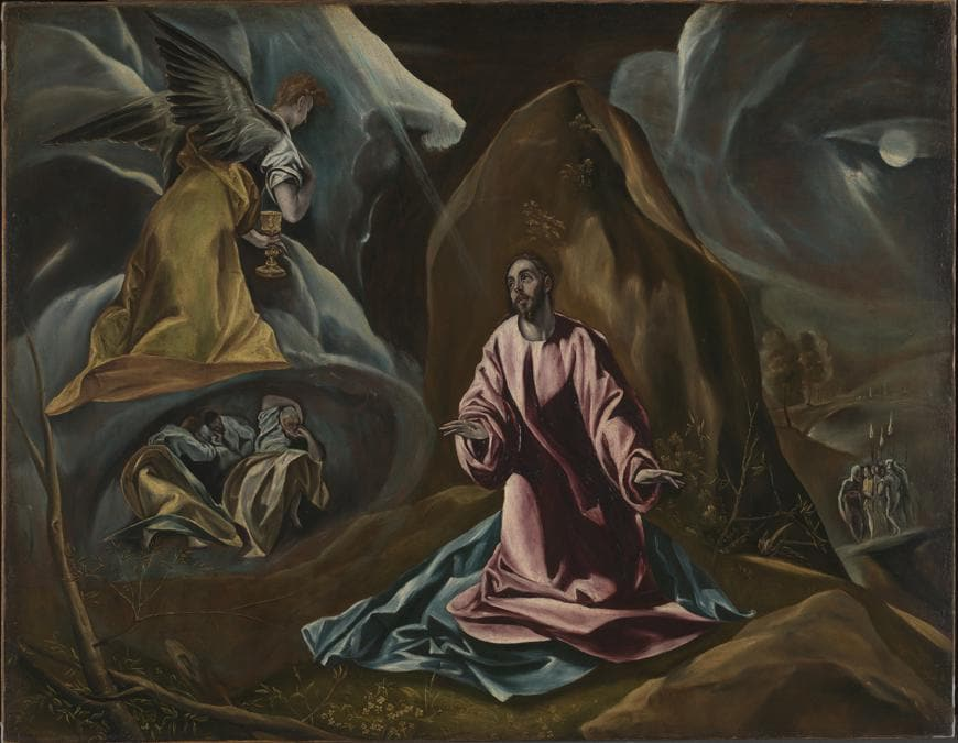 Studio of El Greco. The Agony in the Garden of Gethsemane, 1590s. Oil on canvas, 102 x 131 cm. © The National Gallery, London