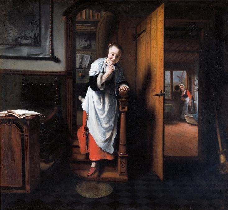 The Eavesdropper. Nicolaes Maes, about 1656. © Historic England Photo Library