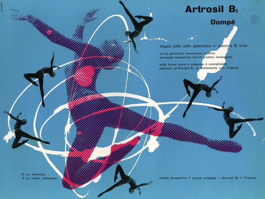 Franco Grignani, Artrosil, 1955, stampa offset, 24,5x32,2 cm (Archivio Manuela Grignani Sirtoli, © Matteo Zarbo)