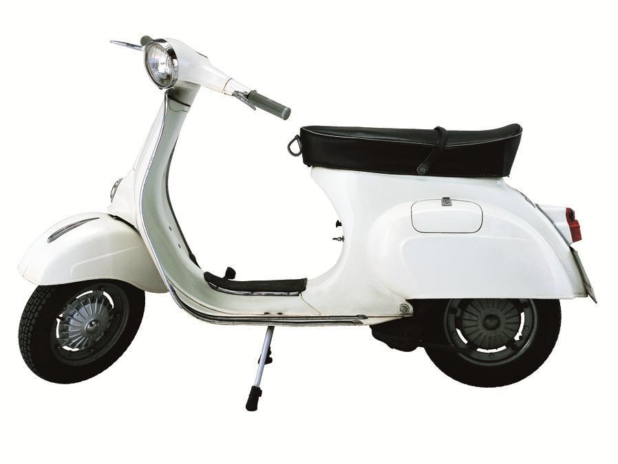 Vespa 125 Primavera (1968) - Insieme alla successiva PX, è il modello più longevo di Vespa. Curate le rifiniture, che comprendono il classico e praticissimo gancio appendi-borsa