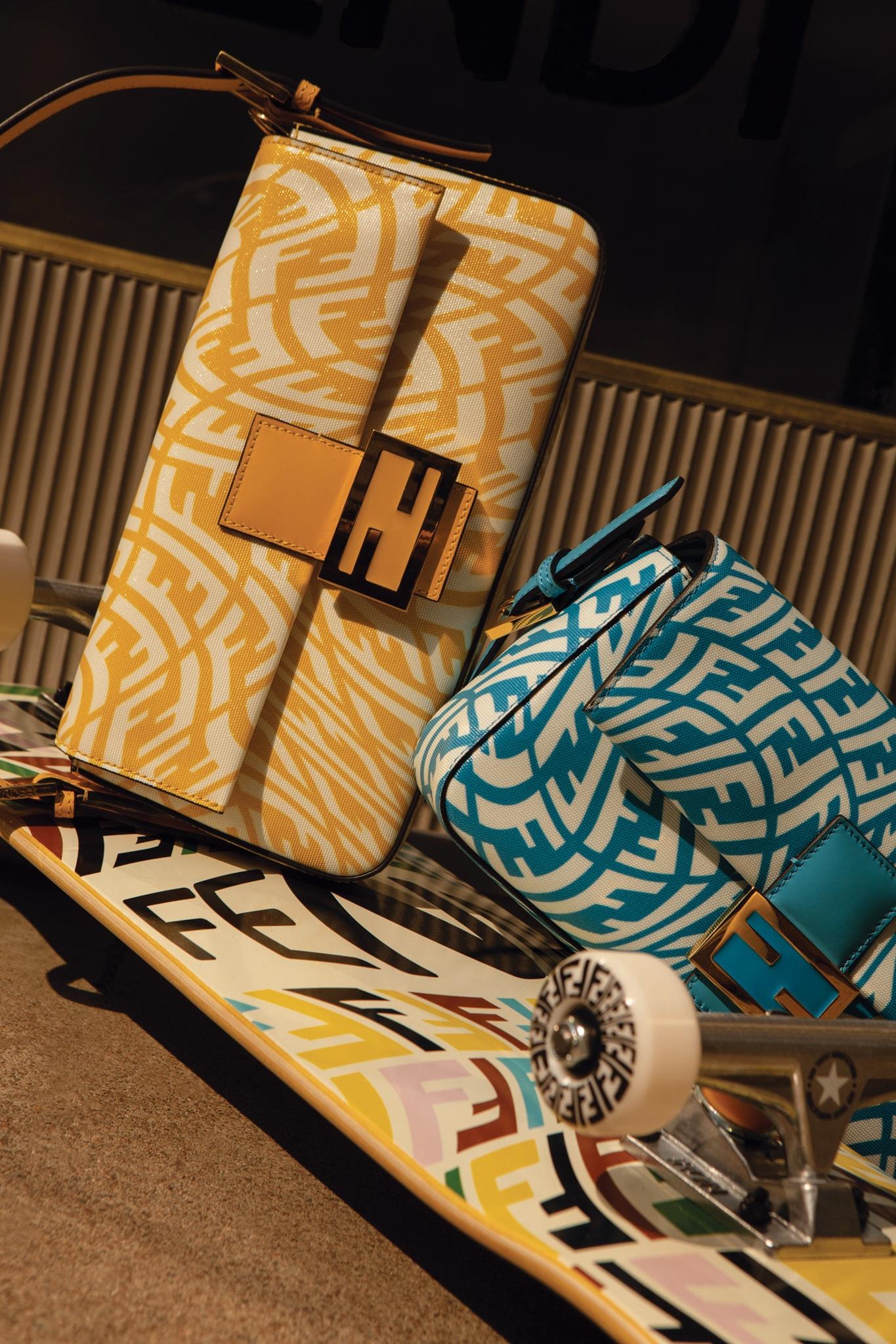 Baguette(2.200 €) in pelle e skateboard (980 €) FF Vertigo in collaborazione con l'artista Sarah Coleman, FENDI.