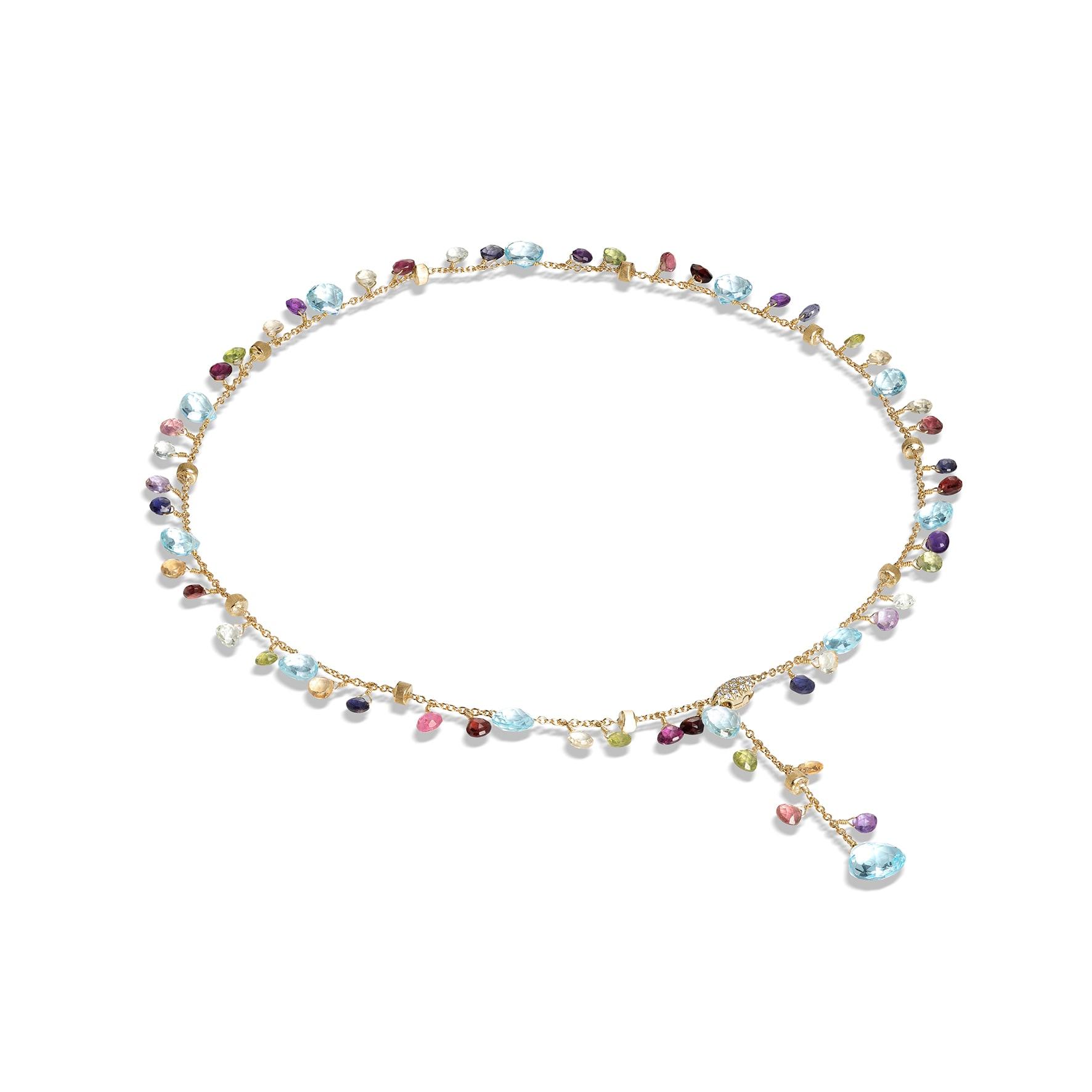 Cravattino con chiusura in diamanti, topazi sky, gemme multicolor e pepite d'oro, MARCO BICEGO (2.950 €).