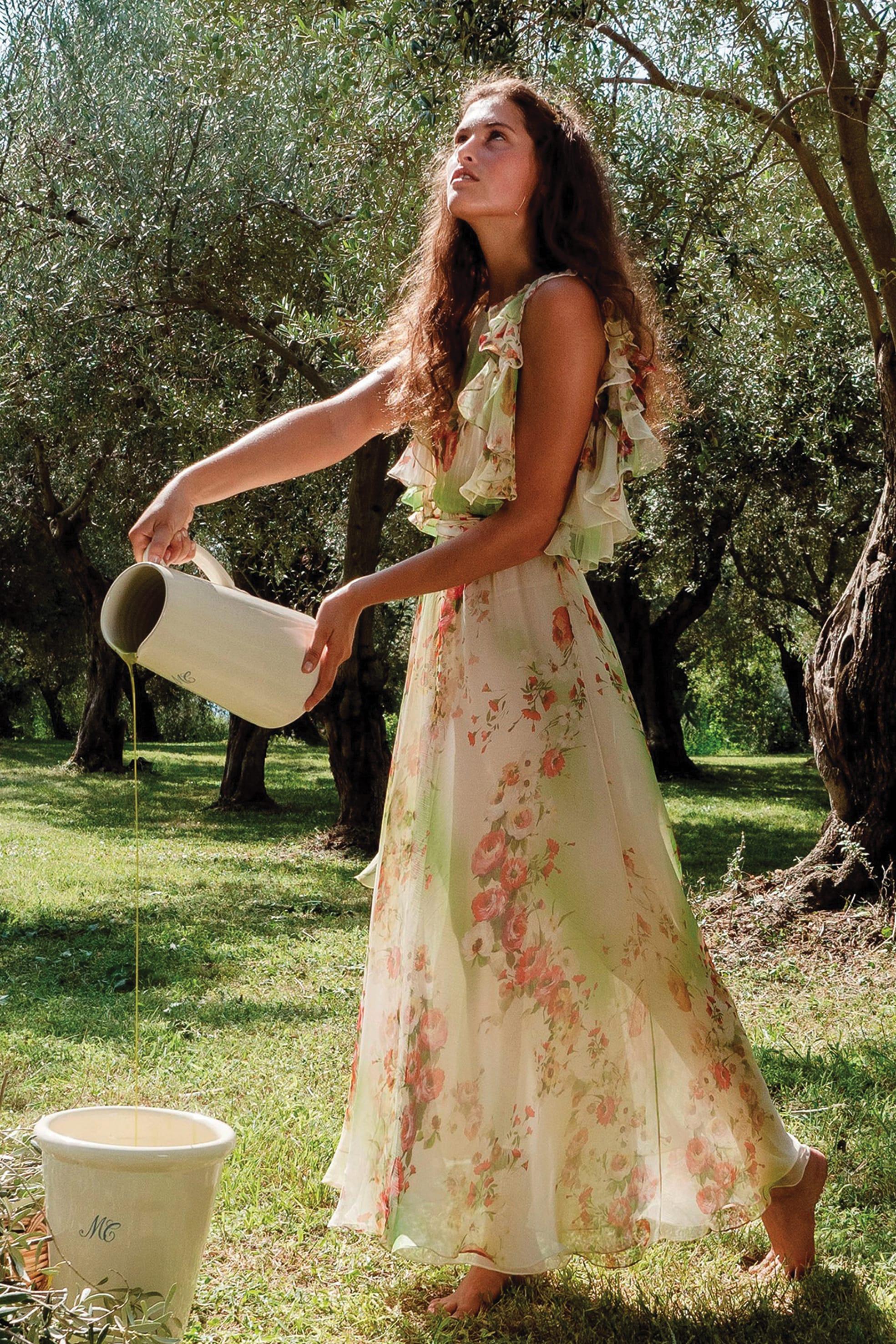LUISA BECCARIA Abito in chiffon stampato a ramage floreali.