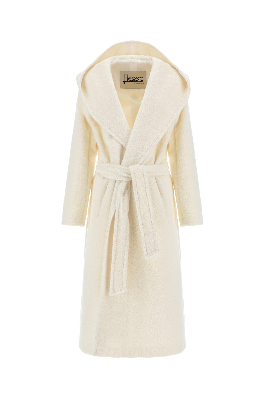 Herno. Robe de chambre in alpaca con cintura e ampio cappuccio.