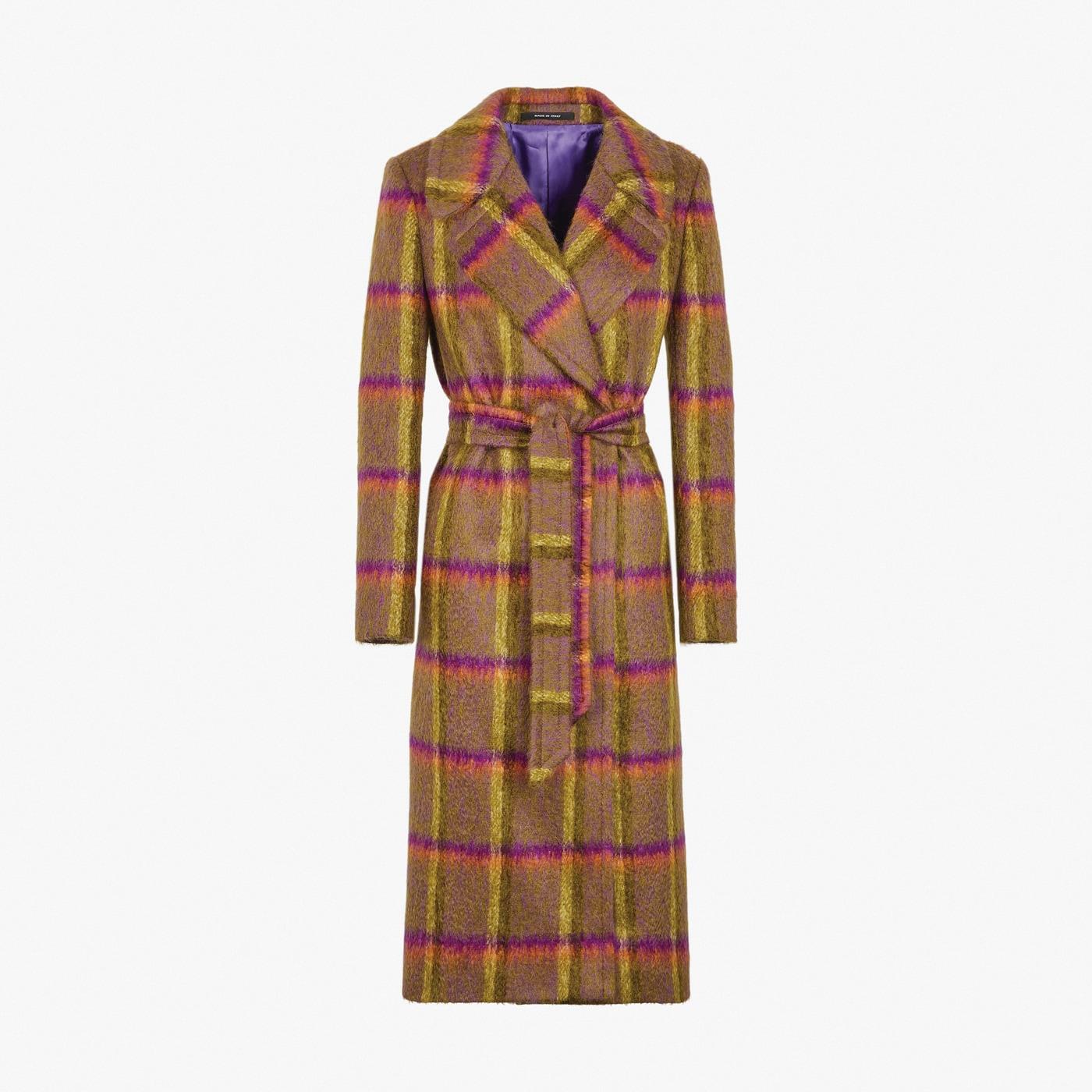 Tagliatore 0205. Cappotto vestaglia con cintura in lana a macro quadri.
