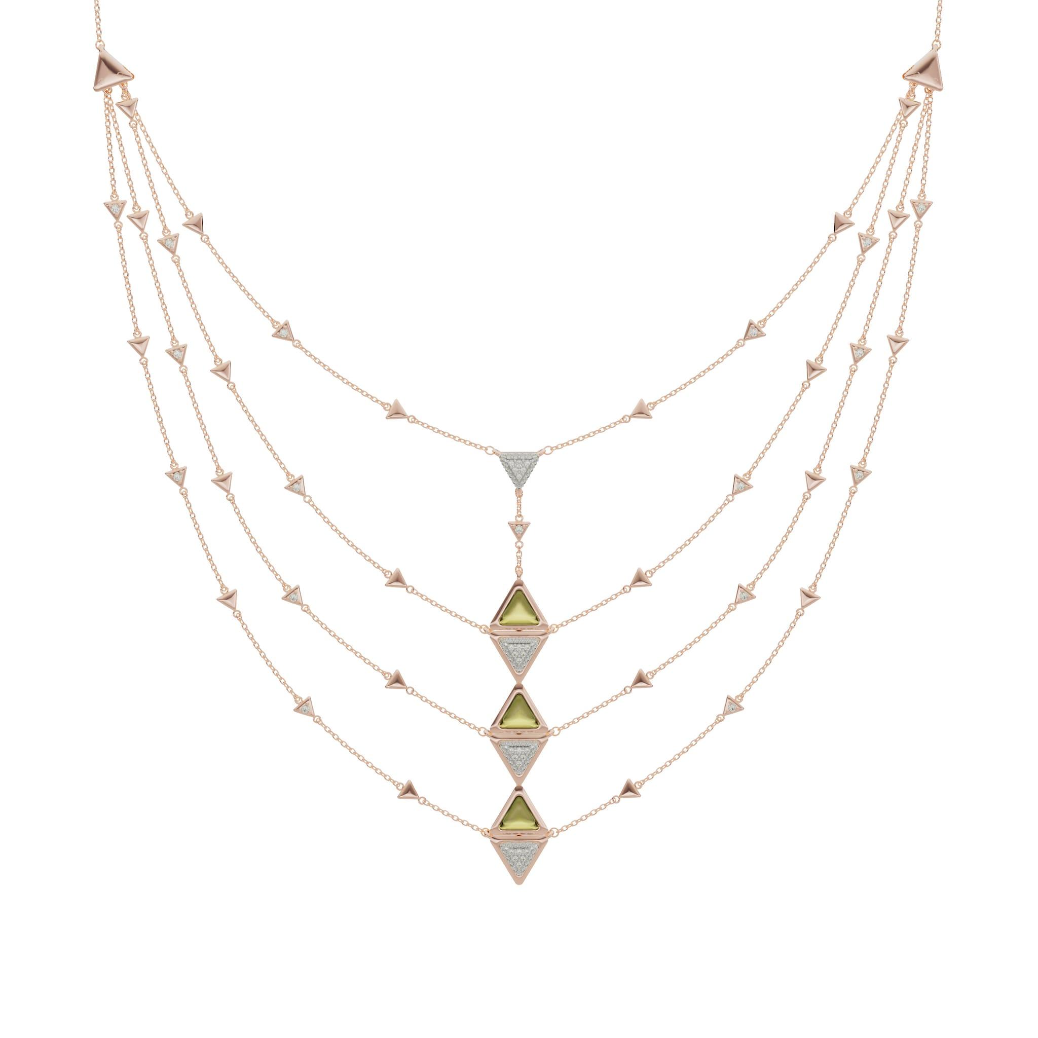 Avel Lenttan. Collier Mirror in oro rosa con triangoli in tormalina e pavé di diamanti (pietre certificate).