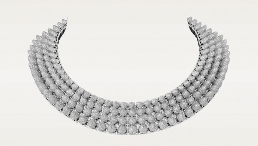 Cartier. Collana Clush (Un)limited in oro bianco, onice, diamanti (circa 65 ct).