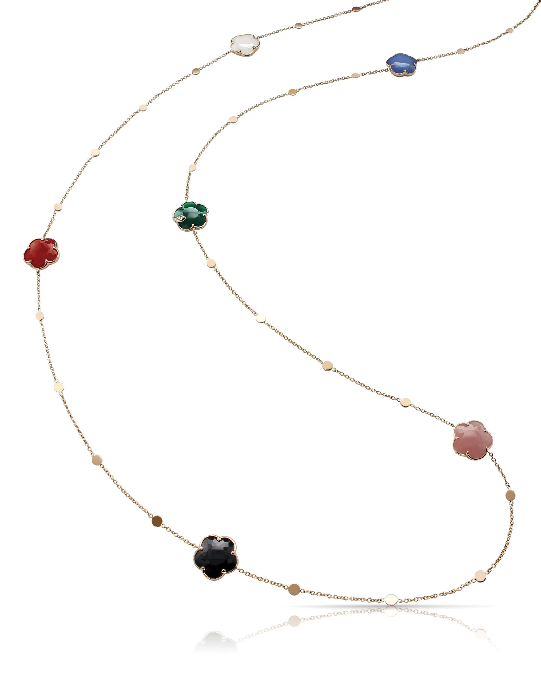 Pasquale Bruni. Collana Petit Jolie in oro rosa con agata verde e bianca, onice, calcedonio rosa, corniola e diamanti.