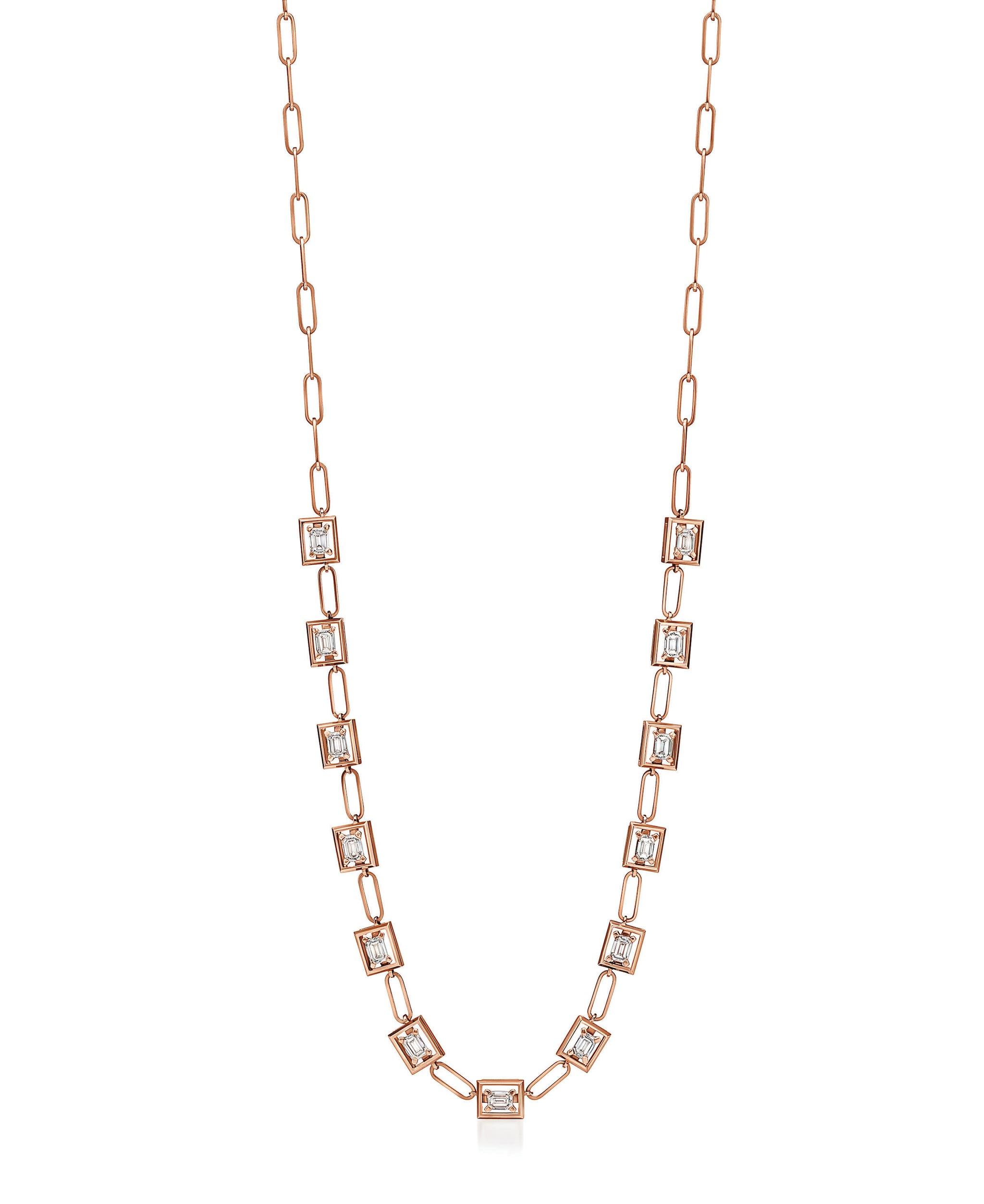 Tiffany & Co. Collana Jewel Box in oro rosa con diamanti sospesi incorniciati dal castone.