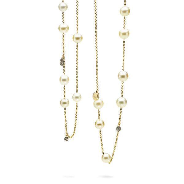 Antonini Milano. Collana Extraordinaire in oro con perle gialle e diamanti champagne.