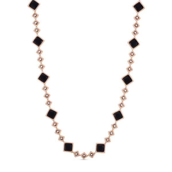 Roberto Coin. Catena collezione Palazzo Ducale, in oro rosa con giada nera e diamanti.