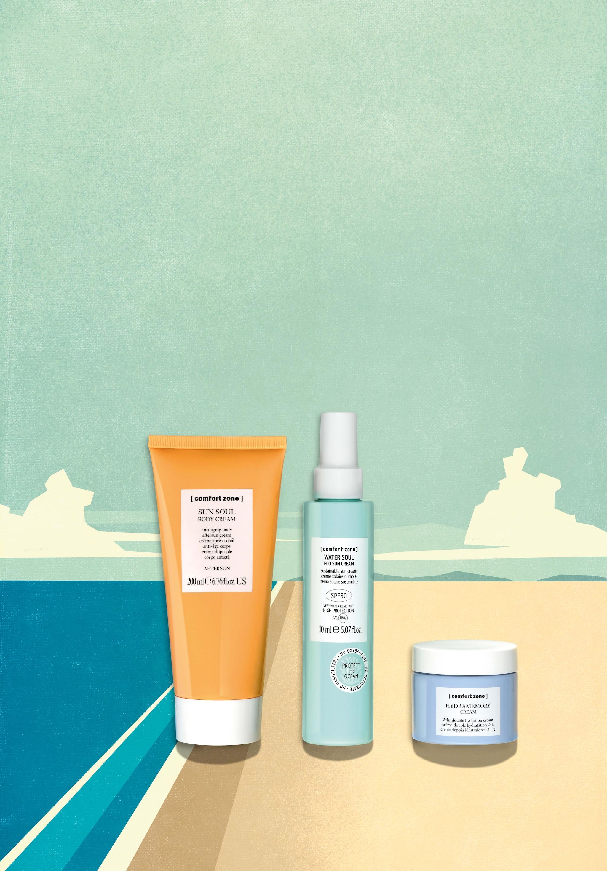 CONFORT ZONE Doposole corpo Sun Soul (29 €), spray solare SPF 30 Water Soul (32 €), crema idratante 24 ore Hydramemory (65 €).