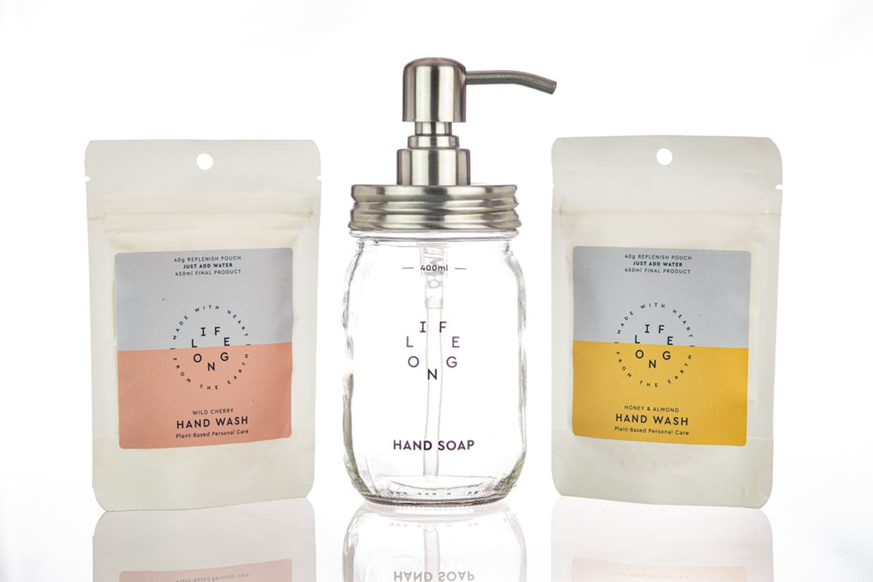 LIFELONG Kit con dispenser in vetro e due ricariche di sapone per mani, salva spazio, in polvere da allungare con acqua (circa 30€).