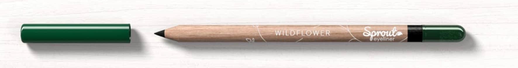 SPROUT EYELINER Matita per gli occhi, con legno che può essere ripiantato quando la parte makeup è esaurita. Da qui cresceranno fiori selvatici adatti alle api (12.95 €).