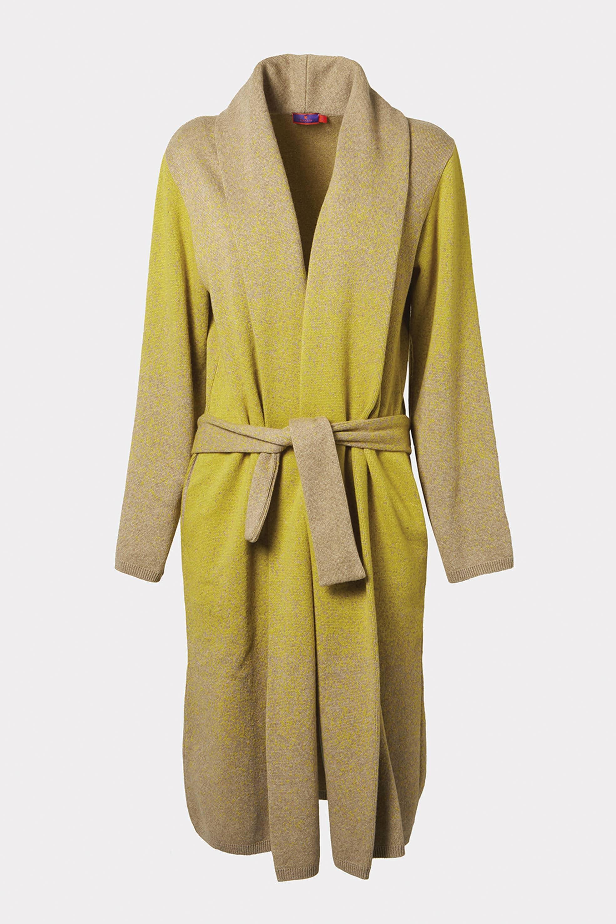 Gallo. Maxi cardigan con cintura in lana sfumata.