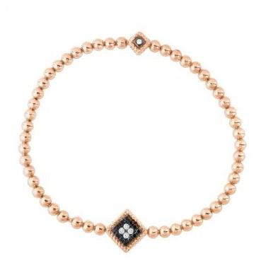 ROBERTO COIN Bracciale elastico in perle d'oro rosa con decoro centrale in diamanti neri e colourless, collezione Palazzo Ducale (2.160 euro).