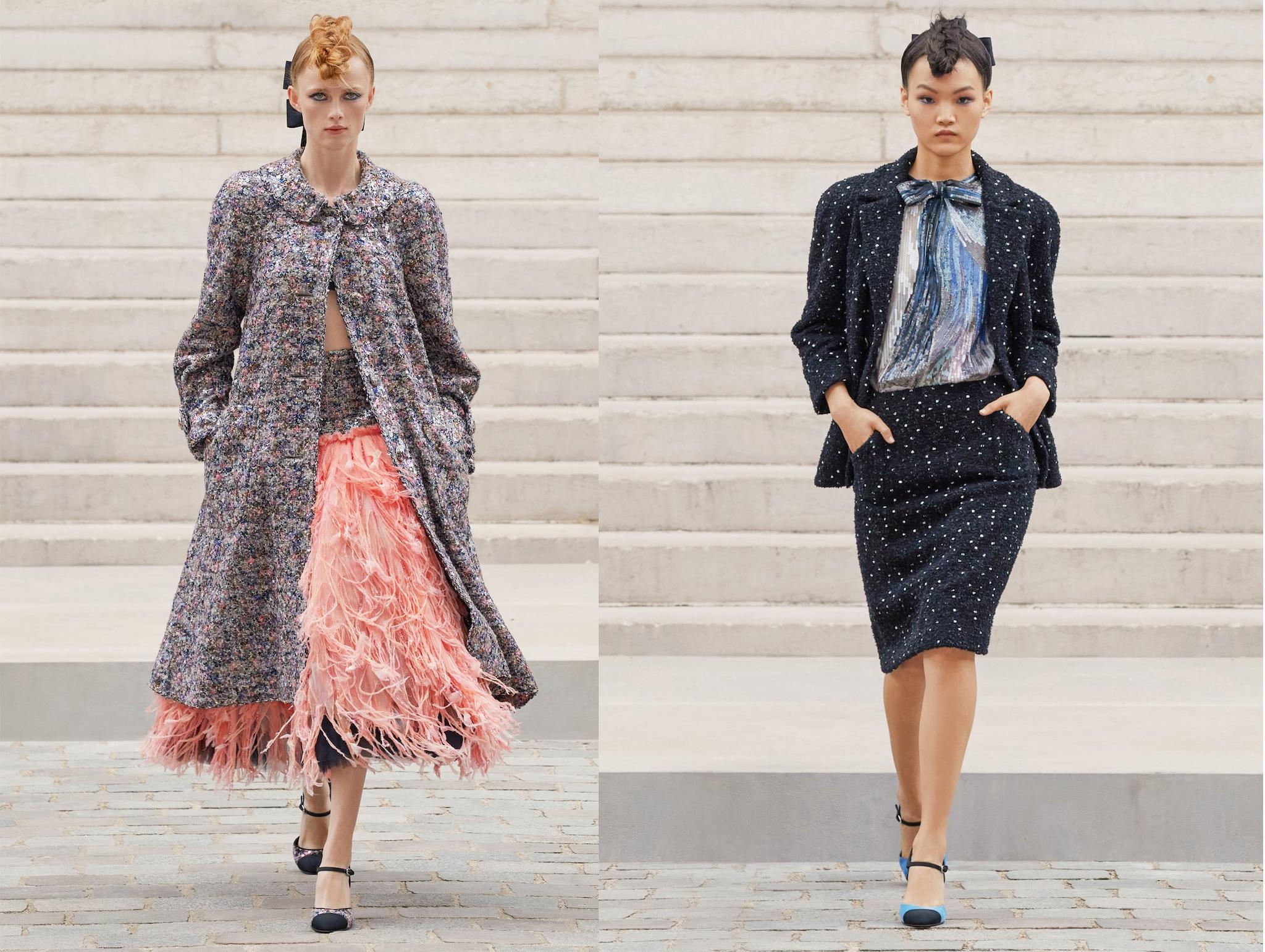 """Chanel Couture Il Palais Galliera (che ospita fino al 18 luglio la mostra Gabrielle Chanel, Fashion Manifesto) ha accolto come quadri Impressionisti i tweed della Maison illuminati da micro paillettes, bluse ricamate e gonne di piume e chiffon. """" Ho pensato anche ai giardini inglesi"""", ha dichiarato Virginie Viard, alla guida creativa del brand. """"Mi piace mischiare un tocco di Inghilterra con uno stile molto francese, è come mischiare maschile e femminile""""."""