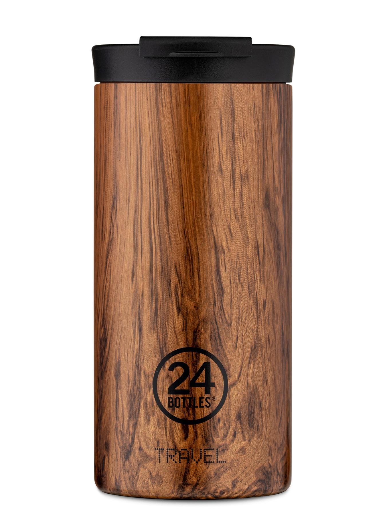Borraccia Sequoia Wood Travel Tumbler, in metallo smaltato effetto legno, 24 BOTTLES (600 ml, 36,90 €).