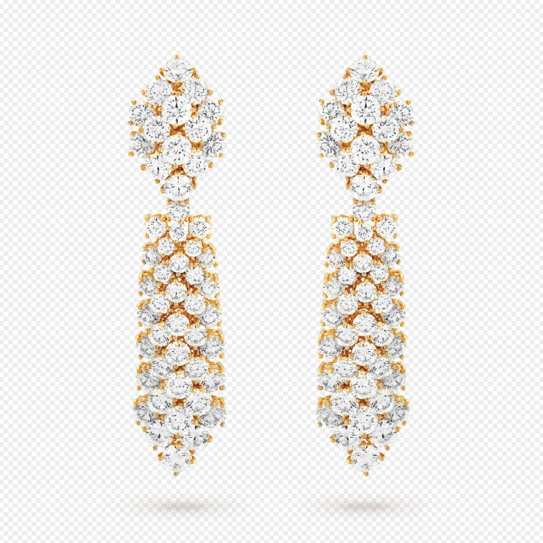 Van Cleef & Arpels. Orecchini trasformabili À Cheval, in oro e diamanti, realizzati con la tecnica dove le gemme si sovrappongono con effetto di rilievo.