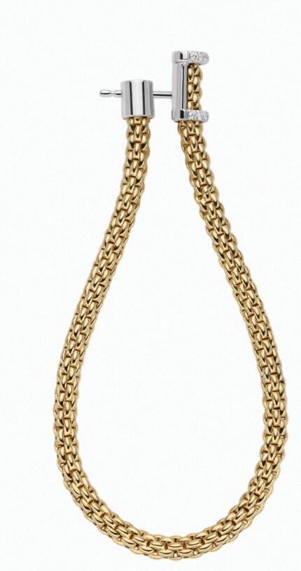 Fope Collezione Essential. Orecchini a ovale in maglia Flex'it, oro e diamanti.