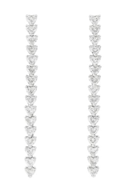 Recarlo. Orecchini pendenti Anniversary Love, in oro con diamanti taglio cuore.