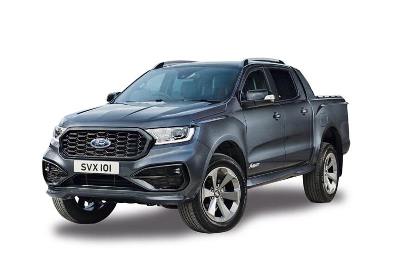 """FORD RANGER MS-RT.  Disegnato da M-Sport, che realizza le auto da rally di Ford, il Ranger MS-RT è una """"versione di alta gamma adatta alla strada"""" del Ford Wildtrak. Ha un motore diesel da 2 litri e carico utile di 1.098 kg. Disponibile dall'estate 2021 presso alcuni mercati EU, www.ford.it ."""