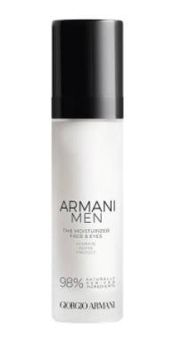 ARMANI MEN THE MOISTURIZER. Crema idratante antietà, realizzata con il 98% di ingredienti naturali, formulata a totale protezione della pelle maschile.