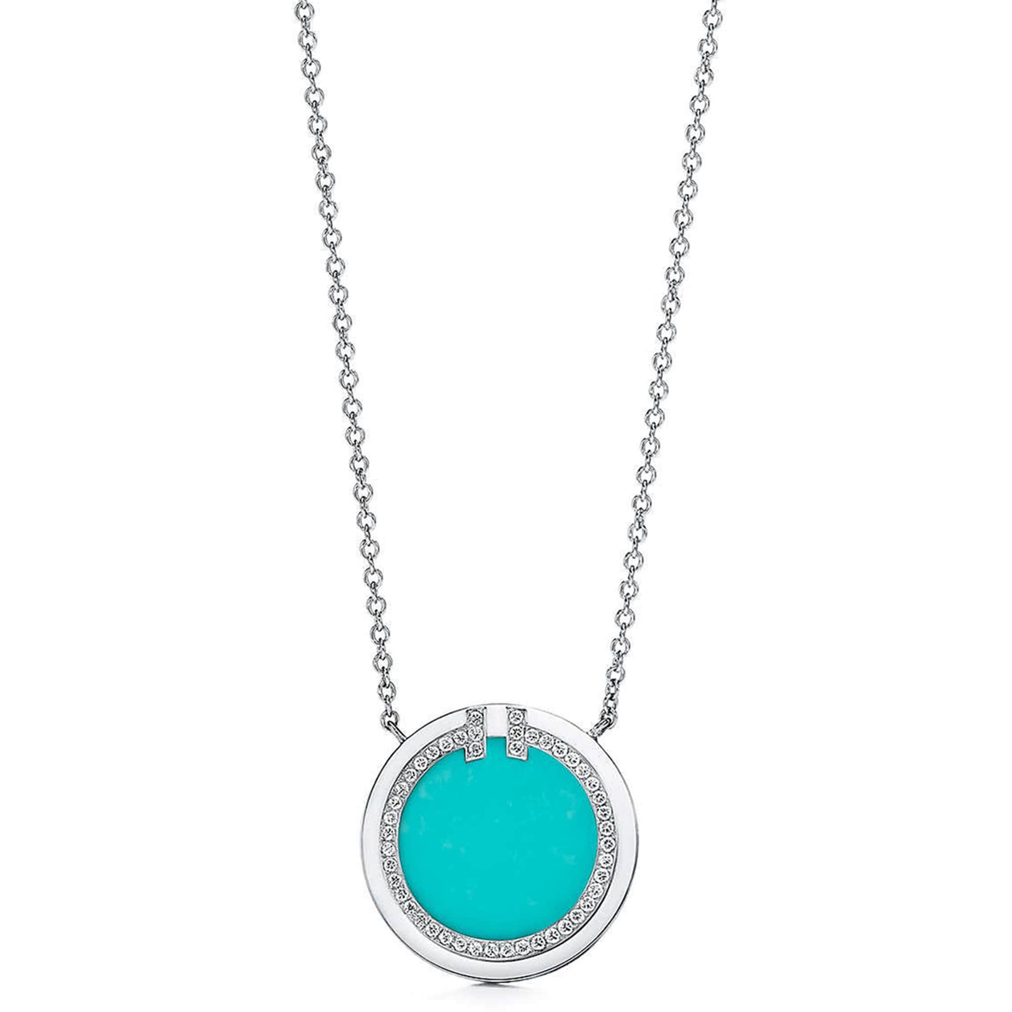 TIFFANY & CO. Pendente Circle, collezione T, in oro bianco con turchese e pavé di diamanti.