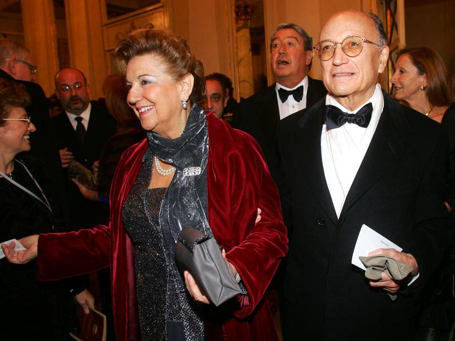 Francesco Saverio Borrelli  con la moglie alla prima del Teatro alla Scala - 2006 (Agf)