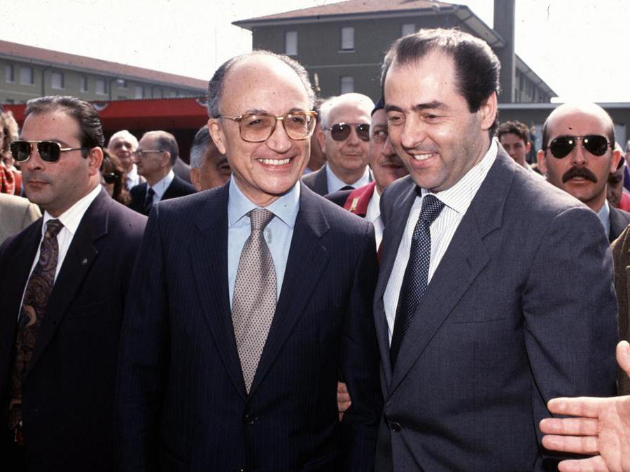 Francesco Saverio Borrelli con Antonio Di PIetro - 1989 (Fotogramma)