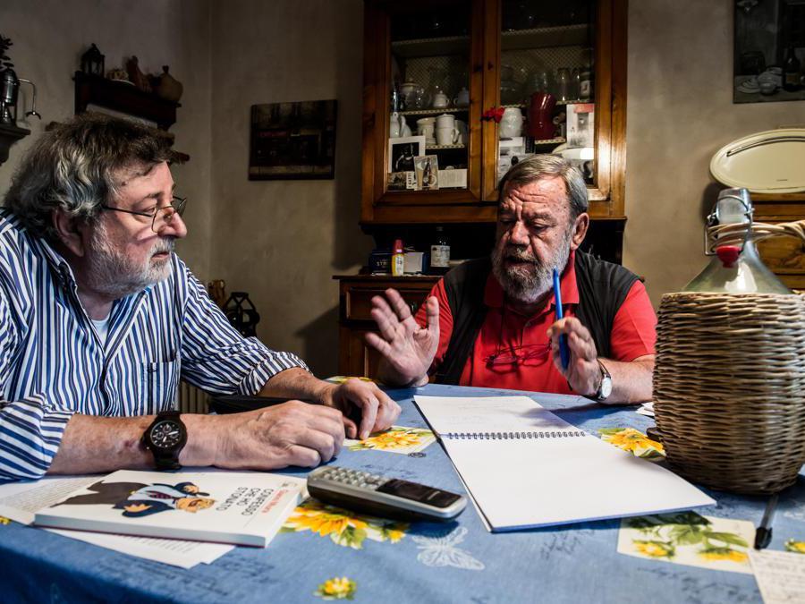 08/08/2019 Pavana, Intervista a Francesco Guccini; nella foto Francesco Guccini con Gianni Mura