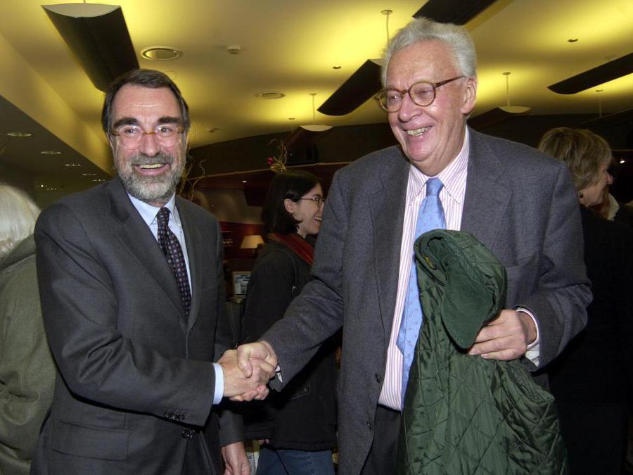 2002.  Giampaolo Pansa con Maurizio Costa (Agf)