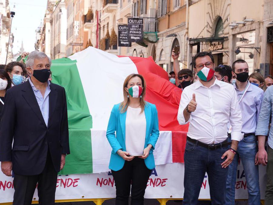 Antonio  Tajani, Giorgia Meloni  e Matteo Salvini (Foto di Livio Anticoli)