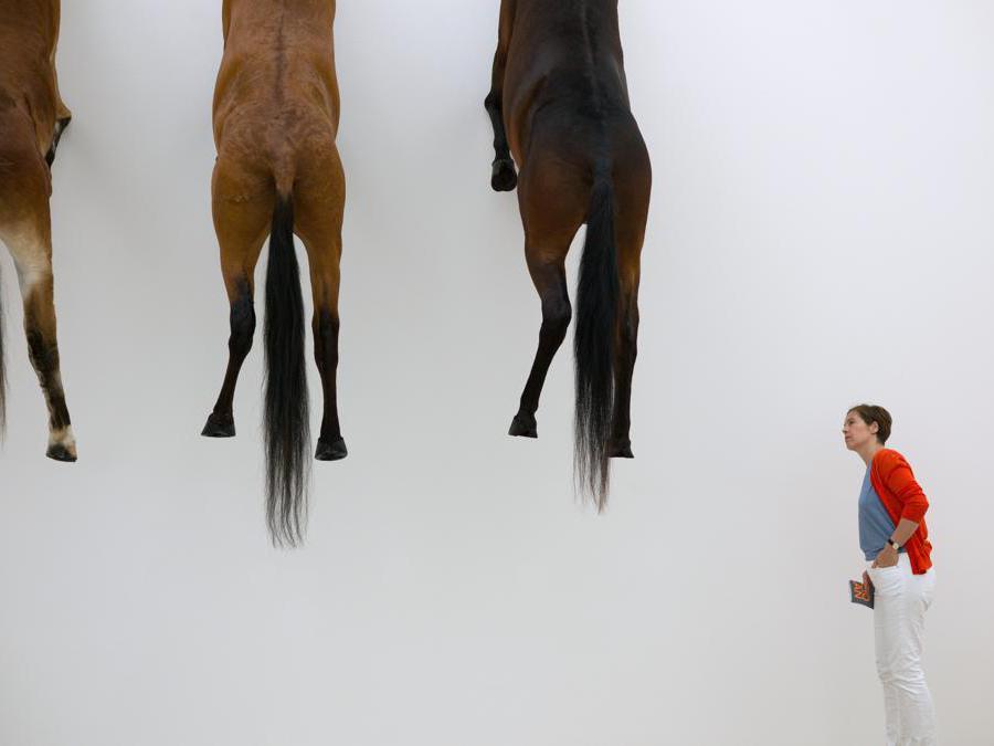 Mostra di Maurizio Cattelan al Beyeler Foundation a Basilea. (Photo by SEBASTIEN BOZON / AFP)