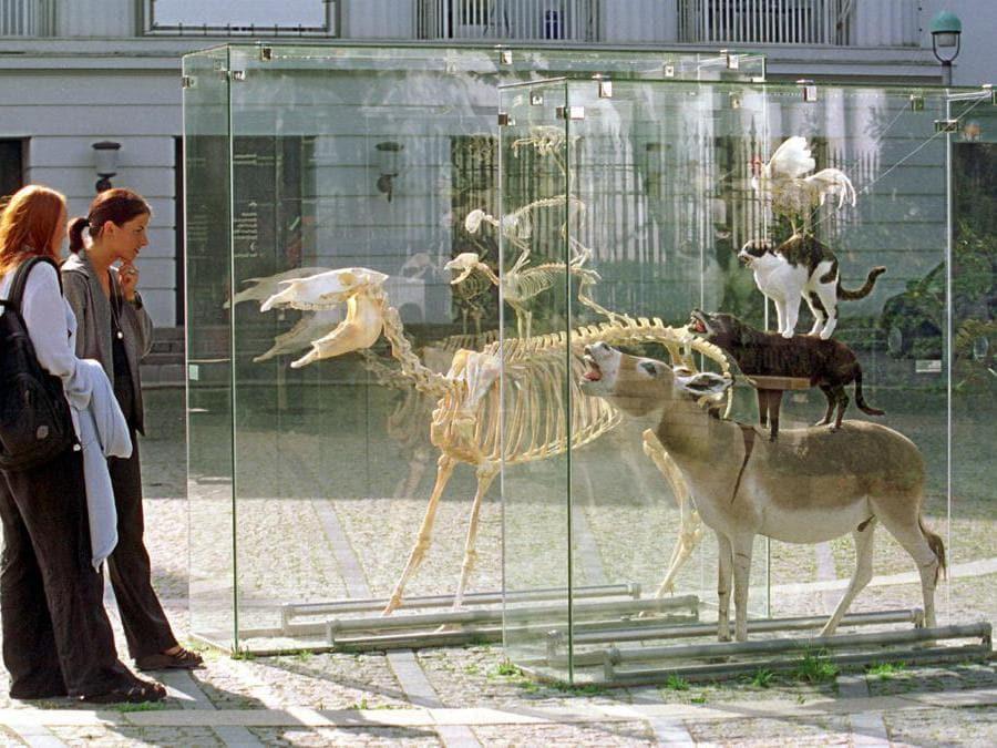 """""""The Bremen Town Musicians"""" installazione di Maurizio Cattelan"""