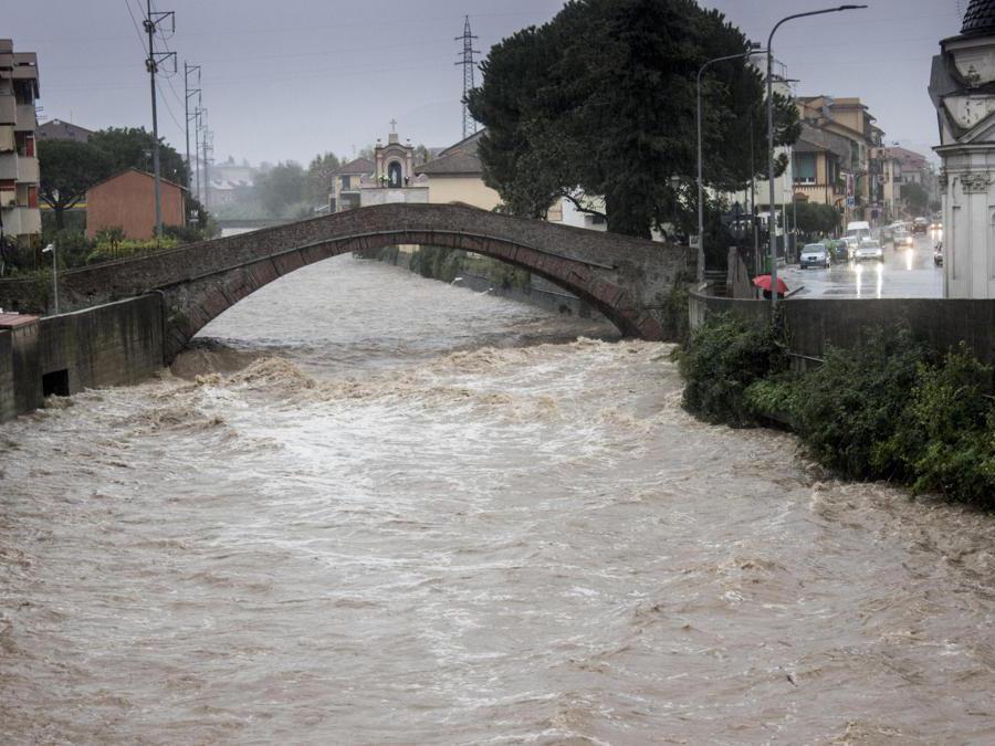 Il Petronio a rischio esondazione per le forti piogge, Sestri Levante (Genova),  ANSA/ FRANCO BOLZONI
