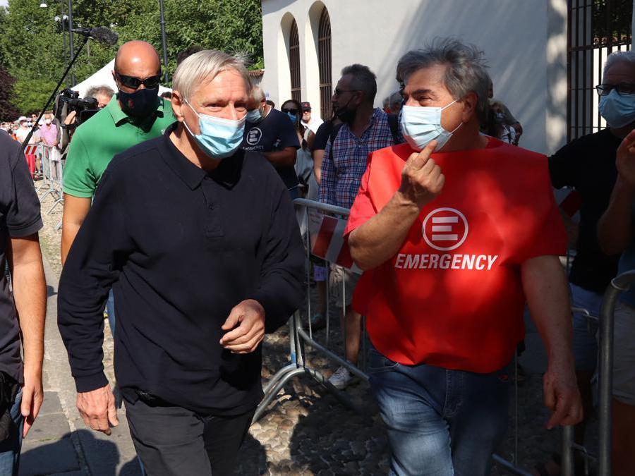 Sede di emergency - camera ardente per Gino Strada - Don Ciotti e Mario Capanna