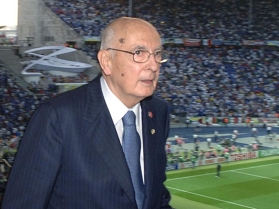 Il Presidente della Repubblica Giorgio Napolitano al suo arrivo all'Olympia Stadium per assistere alla finale della Coppa del Mondo. (Ansa/Enrico Oliverio-Ufficio Stampa della Presidenza della Repubblica)