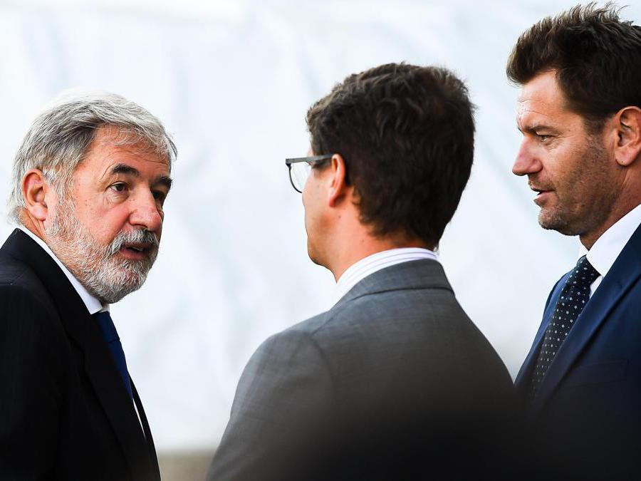 Il sindaco di Genova Marco Bucci  alla cerimonia ufficiale per l'anniversario del crollo del Ponte Morandi  (Simone Arveda/Ansa)