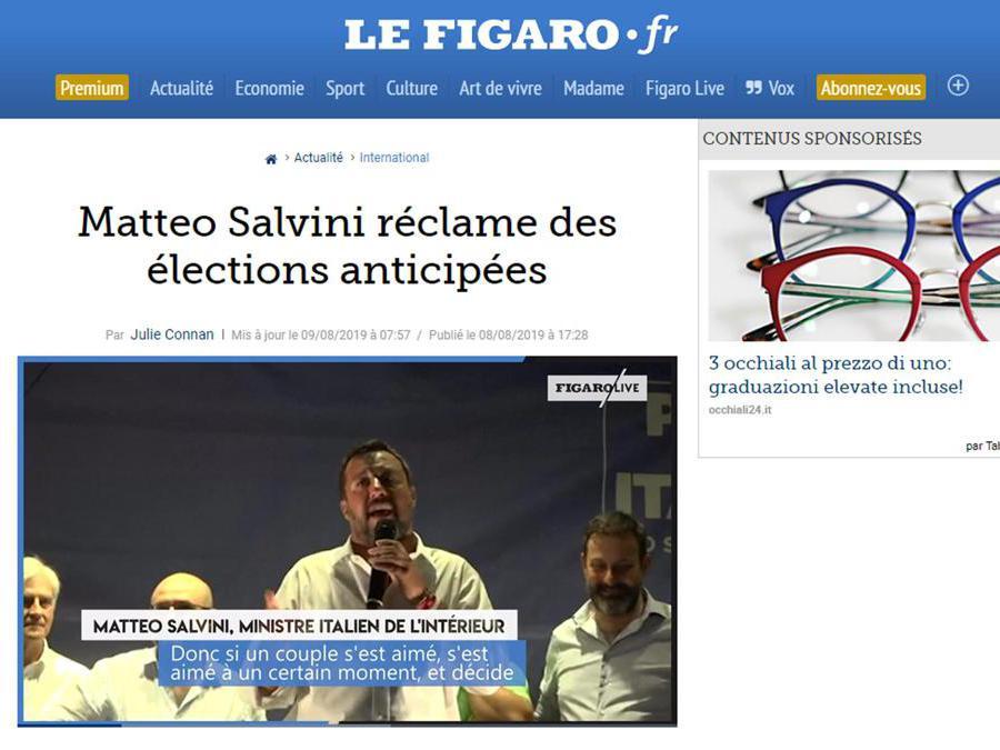 L'articolo con cui l'edizione on line de Le Figaro copre la crisi di governo in Italia, Roma 9 agosto 2019. ANSA/LE FIGARO