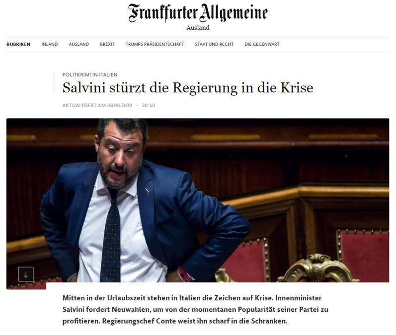 L'articolo con cui l'edizione on line di Frankfurter Allgemeine copre la crisi di governo in Italia, Roma 9 agosto 2019. ANSA/FAZ