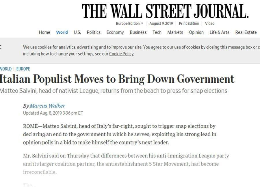Un articolo dell'edizione on line di The Wall street journal sulla crisi di governo in Italia, Roma 9 agosto 2019. ANSA/WALL STREET JOURNAL