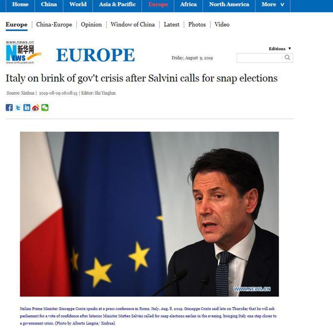 L'articolo con cui il sito dell'agenzia Xinhua copre la crisi di governo in Italia, Roma 9 agosto 2019. ANSA/XINHUA