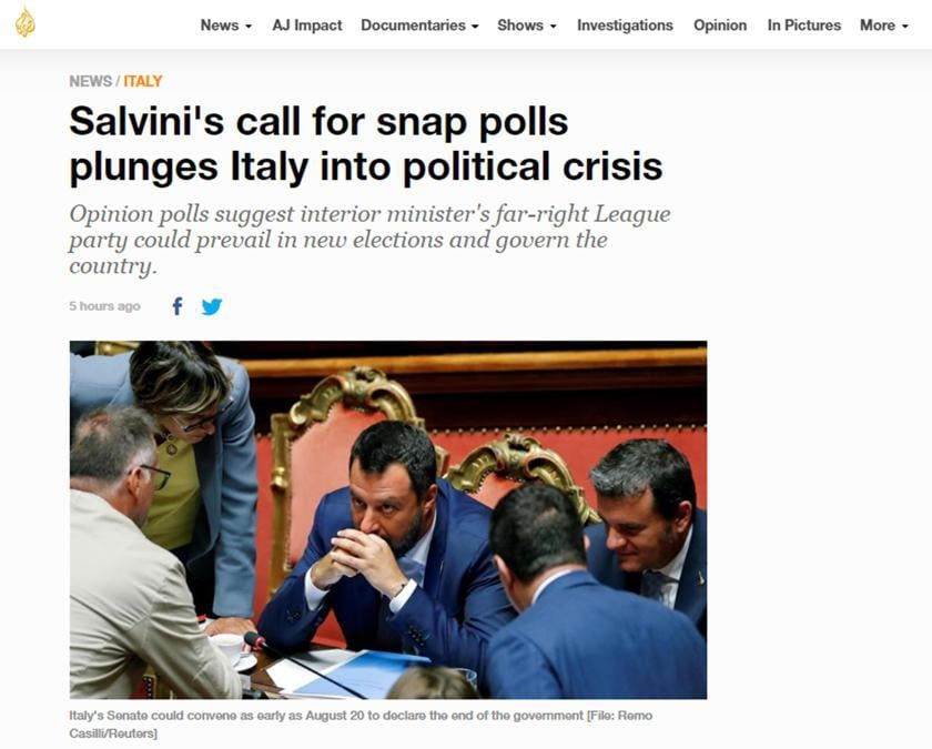 L'articolo online con cui al Jazeera copre la crisi di governo in Italia, Roma 9 agosto 2019. ANSA/AL JAZEERA