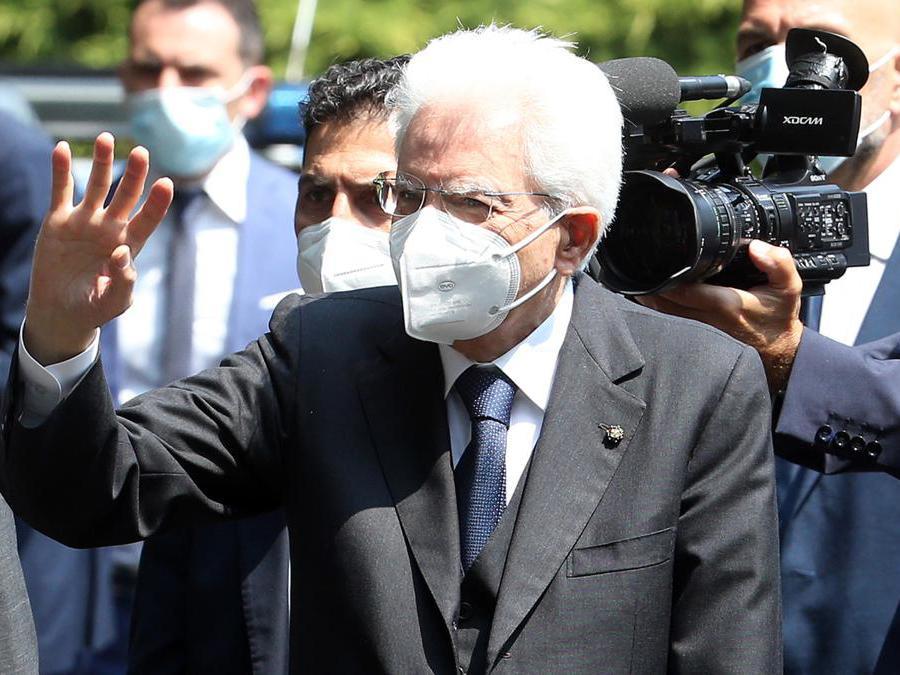 La visita del presidente Mattarella a Codogno, in memoria delle vittime del Covid-19 (ANSA)